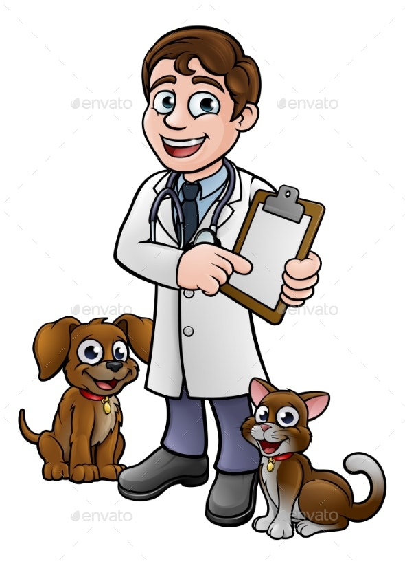 Vet Cartoon Character Holding Clipboard - Animals Characters
