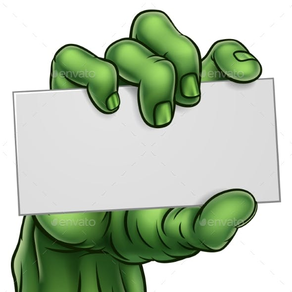 Zombie Monster Halloween Hand Holding Blank Sign