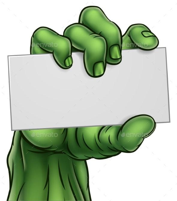 Zombie Monster Halloween Hand Holding Blank Sign - Halloween Seasons/Holidays