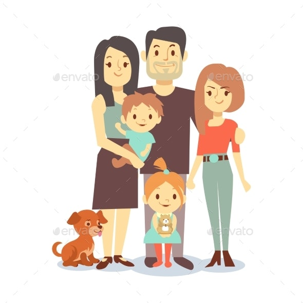 Flat Family with Pets - People Characters