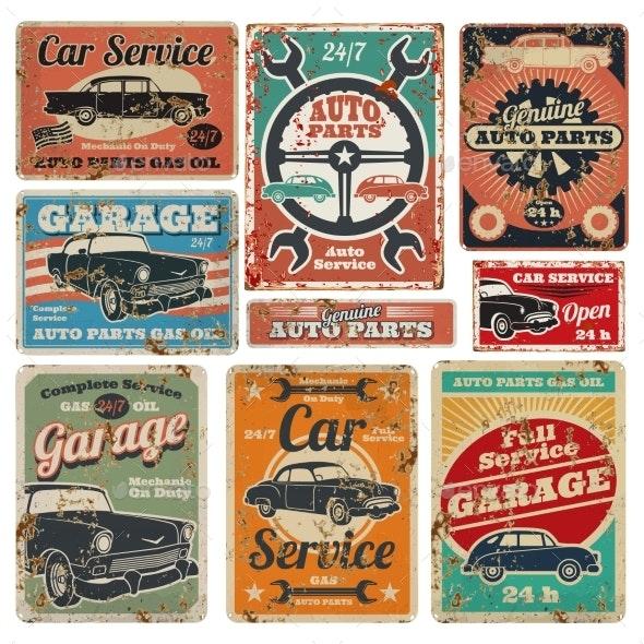 Vintage Road Vehicle Repair Service - Miscellaneous Vectors