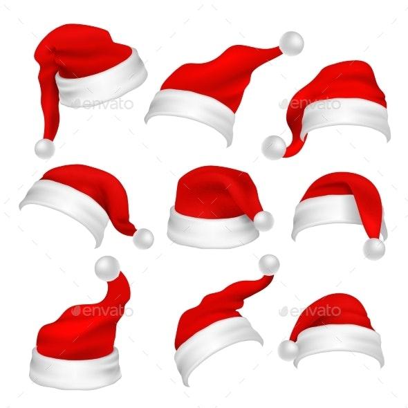 Santa Claus Red Hats Photo Booth Props - Christmas Seasons/Holidays