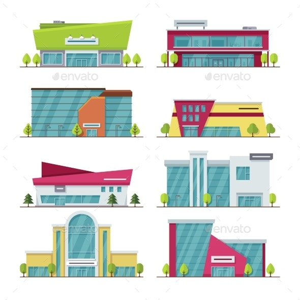Shopping Center, Mall and Supermarket Modern Flat - Buildings Objects