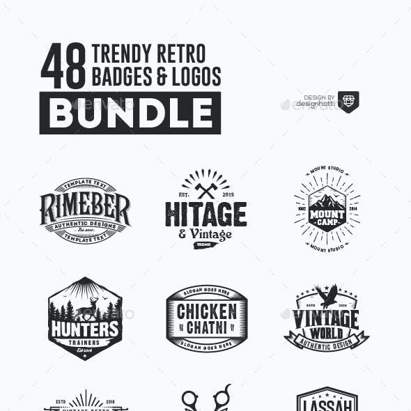 48 Trendy Retro Badges and Logos Bundle