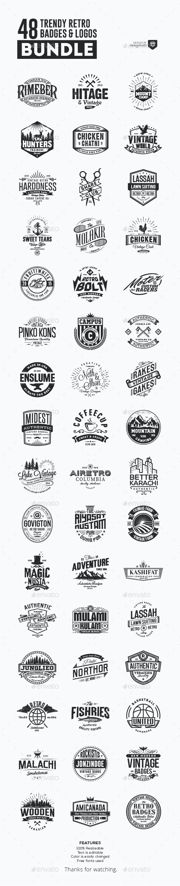 48 Trendy Retro Badges and Logos Bundle - Badges & Stickers Web Elements