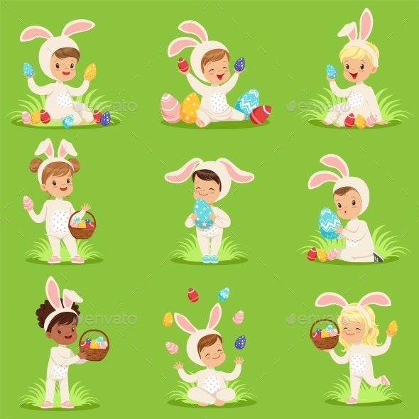 Easter Set with Eggs and Children in Bunny - Animals Characters