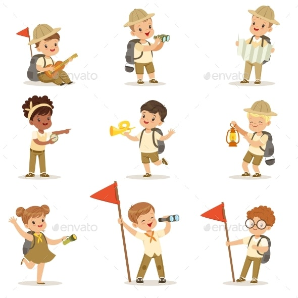 Set of Girls and Boys in Scout Costumes - Sports/Activity Conceptual