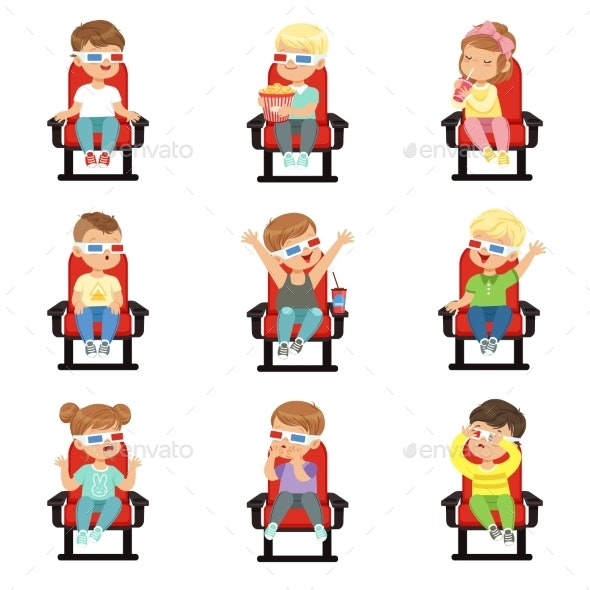 Set of Kids in 3D-glasses - People Characters