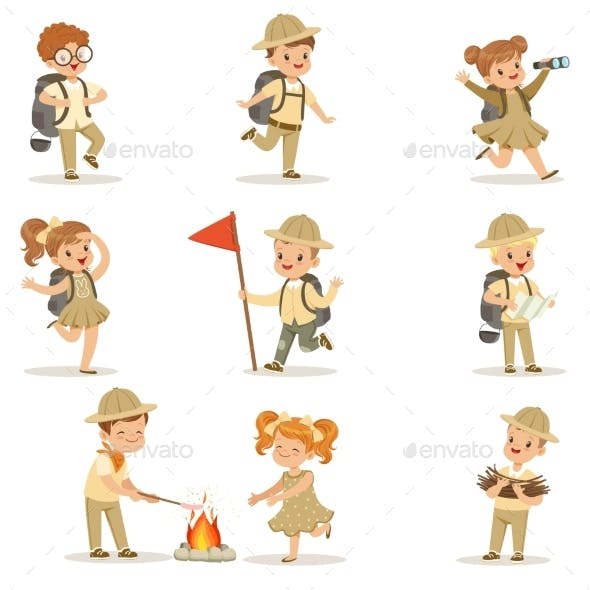 Set of Girls and Boys in Scout Costumes