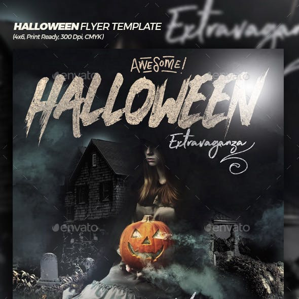 Awesome Halloween Extravaganza Flyer Template