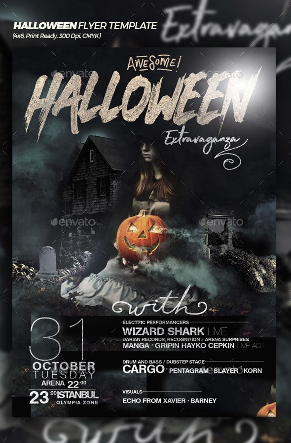 Awesome Halloween Extravaganza Flyer Template - Events Flyers