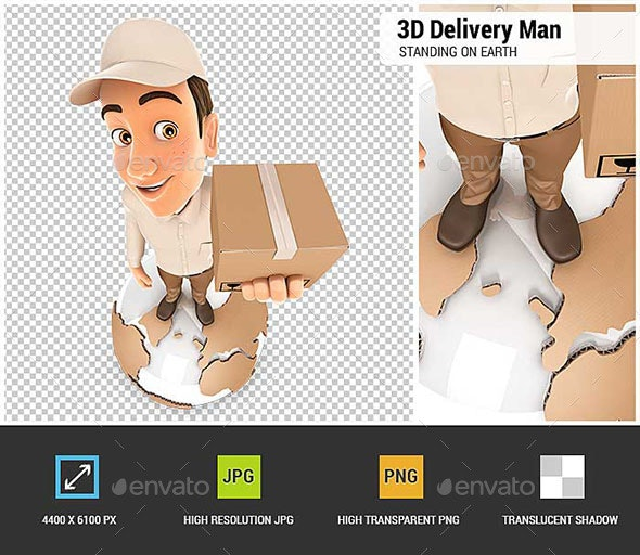 3D Delivery Man Standing on Earth - Characters 3D Renders