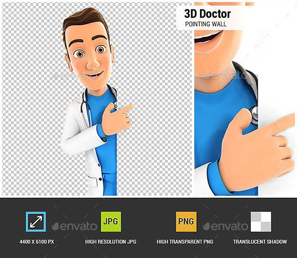 3D Doctor Pointing to Right Blank Wall - Characters 3D Renders