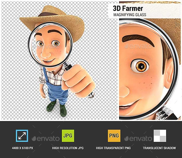 3D Farmer Looking Into a Magnifying Glass - Characters 3D Renders