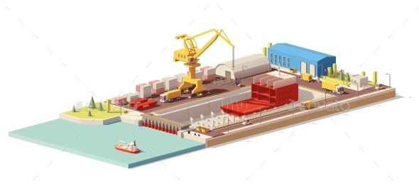 Vector Low Poly Ship Construction in Dry Dock - Man-made Objects Objects