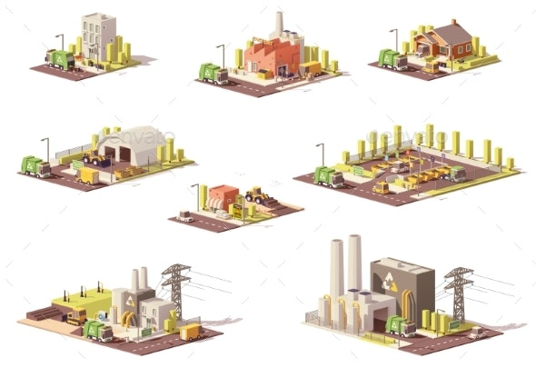Vector Low Poly Waste Management Icons - Buildings Objects