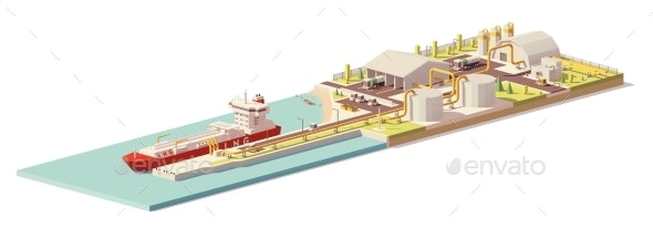 Vector Low Poly LNG Terminal and LNG Carrier Ship - Man-made Objects Objects