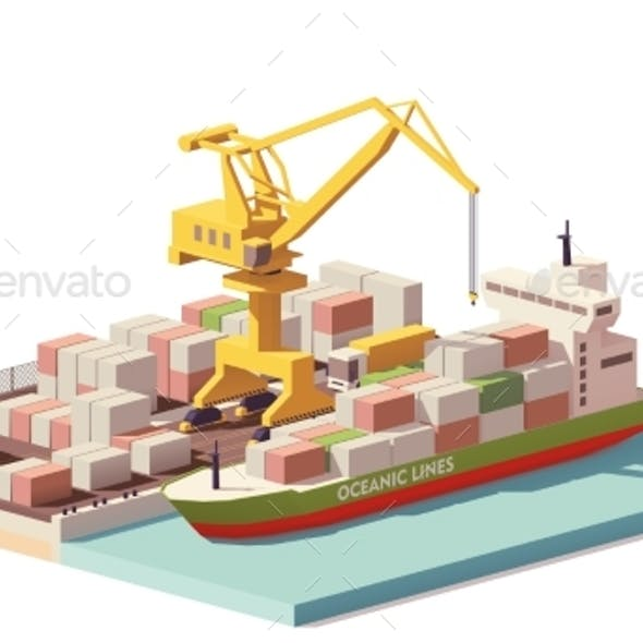 Vector Low Poly Port Container Terminal and Ship