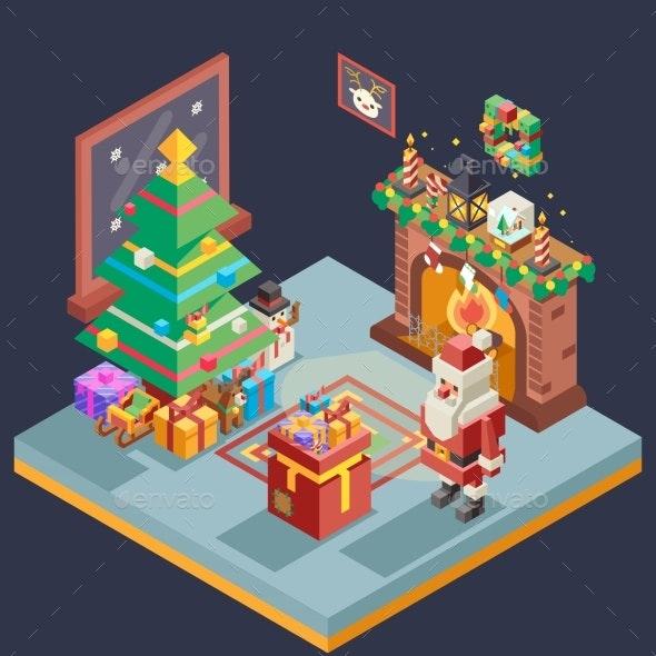 Isometric Room Cristmas New Year Santa Claus Icons - Seasons/Holidays Conceptual
