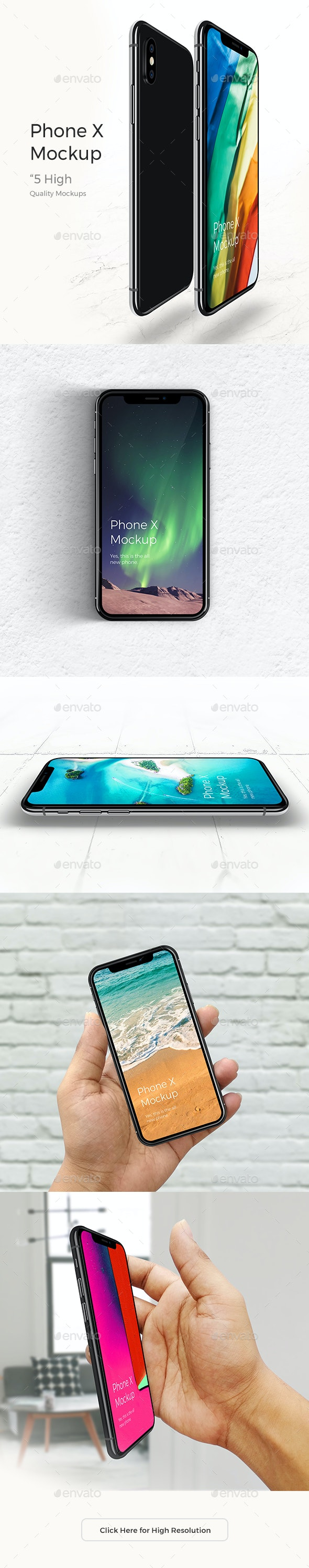 Realistic Phone X Mock-up - Mobile Displays