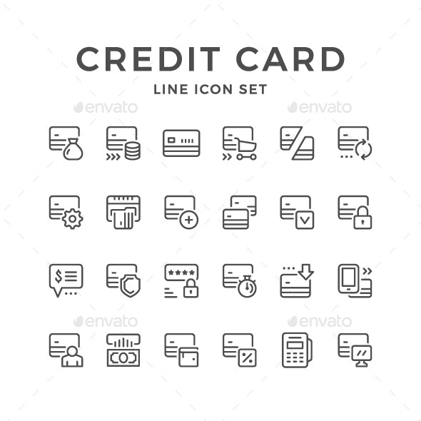 Set Line Icons of Credit Card - Man-made objects Objects