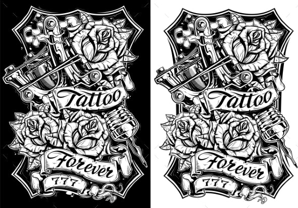 Graphic Black and White Tattoo Machine and Roses - Miscellaneous Vectors