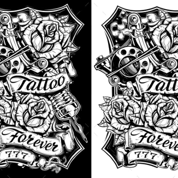 Black and White Graphic Tattoo Machine and Roses