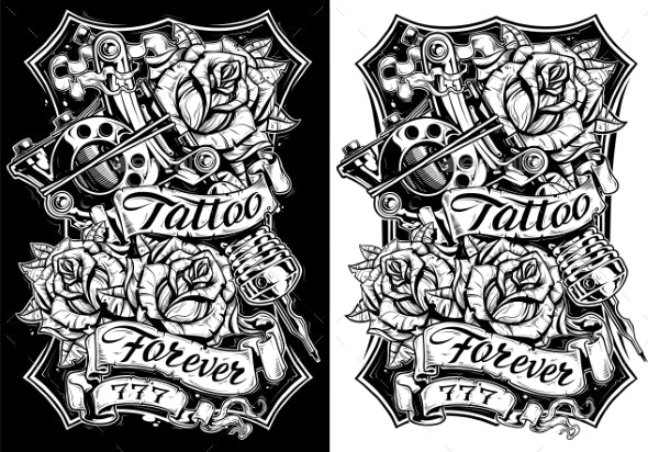 Black and White Graphic Tattoo Machine and Roses - Miscellaneous Vectors