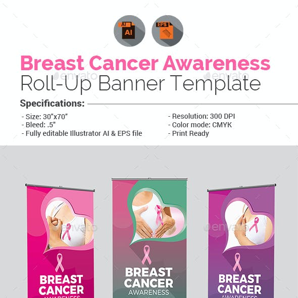 Breast Cancer Awareness Roll-Up Banner