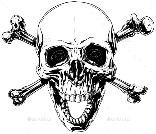 Graphic Human Skull with Crossed Bones - Miscellaneous Vectors