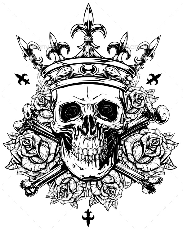 Graphic Human Skull with Crossed Bones and Crown - Objects Vectors