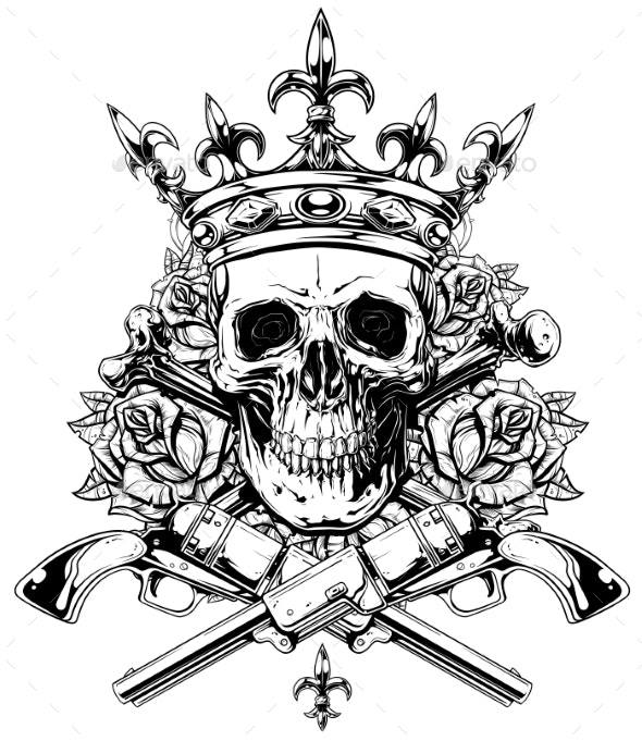 Graphic Skull with Crossed Bones and Revolvers - Decorative Symbols Decorative