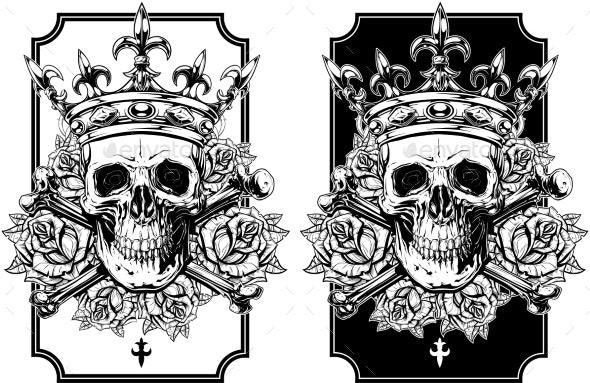 Graphic Skull with Crossed Bones and Crown Set - Decorative Symbols Decorative