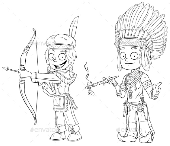 Cartoon Indian Chief Young Warrior Character Set - People Characters