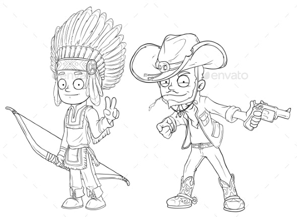 Cartoon Indian Boy with Bow Cowboy Character Set - Miscellaneous Characters