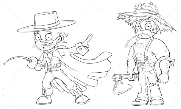 Cartoon Masked Hero Strong Farmer Character Set - Miscellaneous Characters