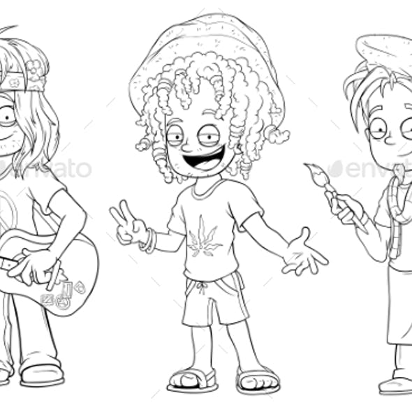 Cartoon Hippie with Guitar Jamaican Character Set