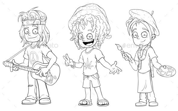 Cartoon Hippie with Guitar Jamaican Character Set - People Characters