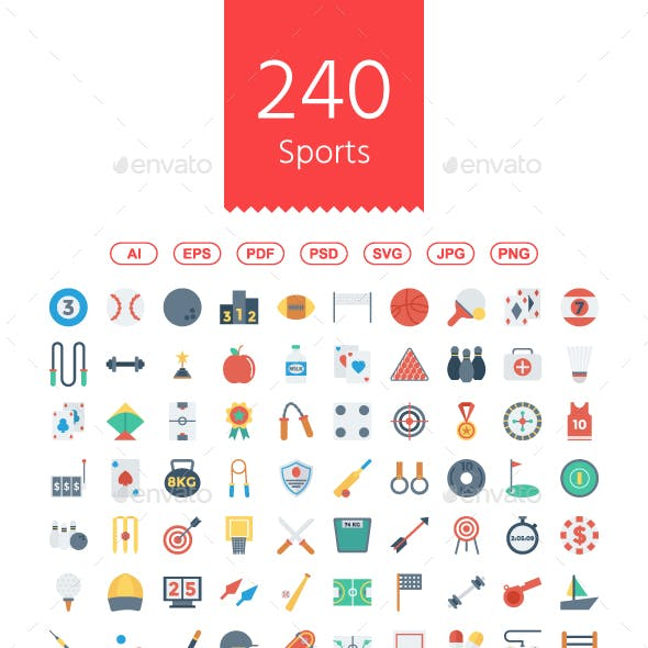 Sports and Fitness Flat icons
