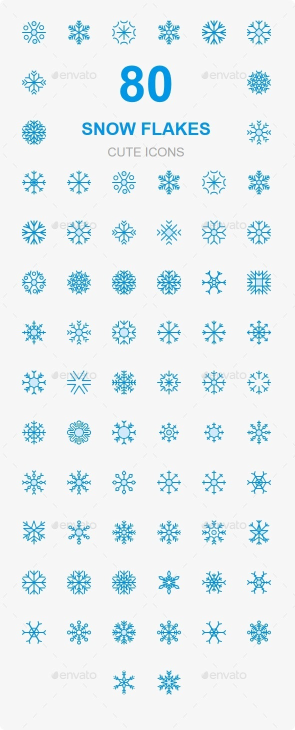 80 Snowflake Cute Style icons - Web Icons