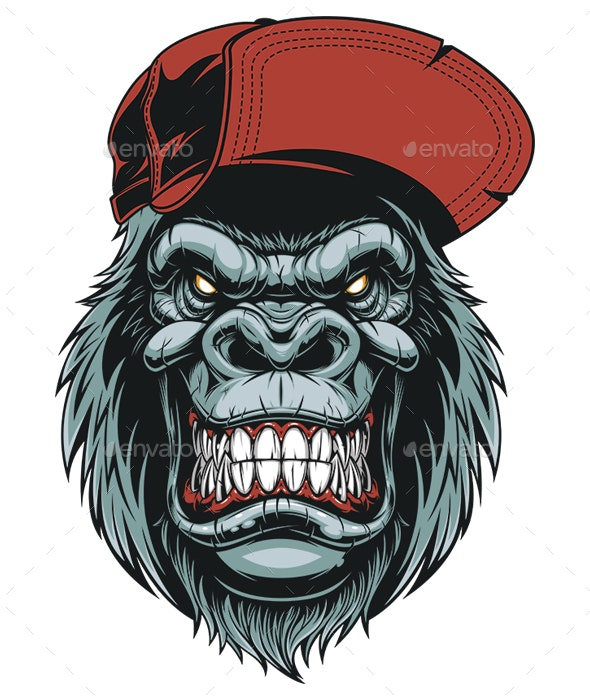Monkey Head in a Baseball Cap - Animals Characters