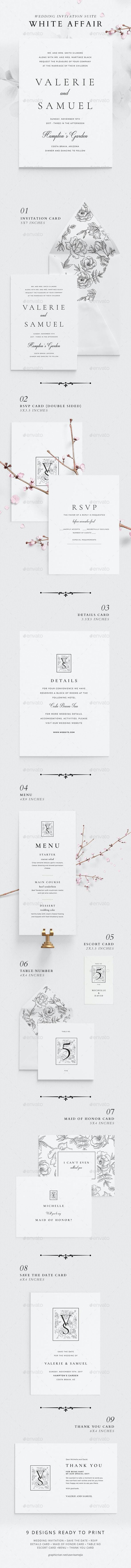 Wedding Invitation Suite - White Affair - Weddings Cards & Invites