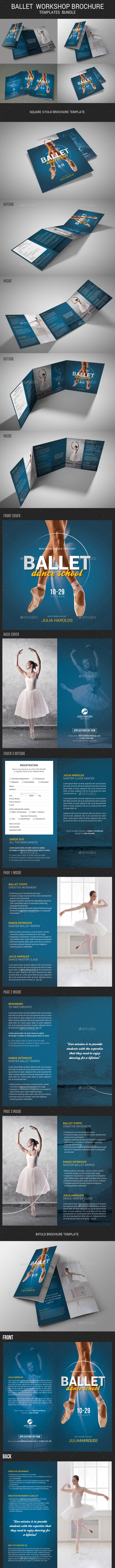 4 Ballet Workshop Brochure Bundle - Brochures Print Templates