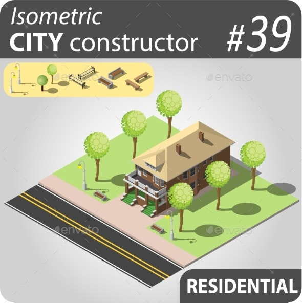 Modern Isometric House - Buildings Objects