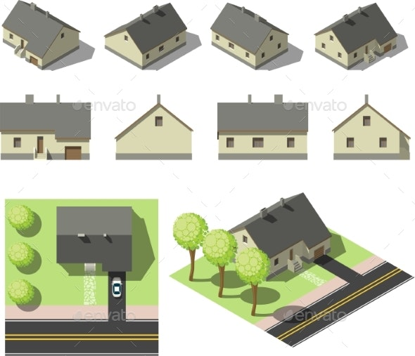 Set of Simple Isometric Houses - Buildings Objects
