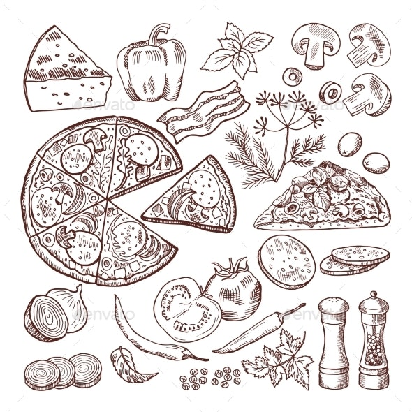 Italian Pizza with Different Ingredients - Food Objects