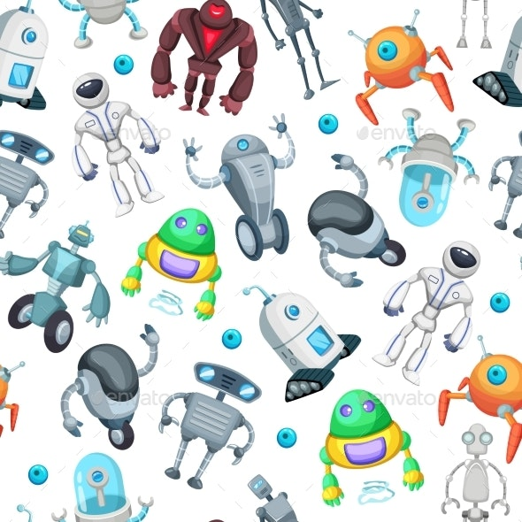 Seamless Pattern with Robots. - Backgrounds Decorative