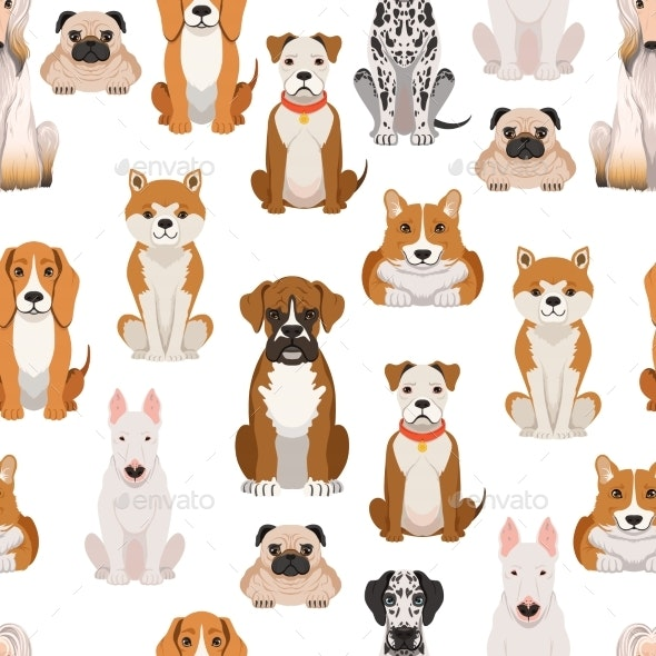 Different Dogs in Cartoon Style. Vector Seamless - Backgrounds Decorative