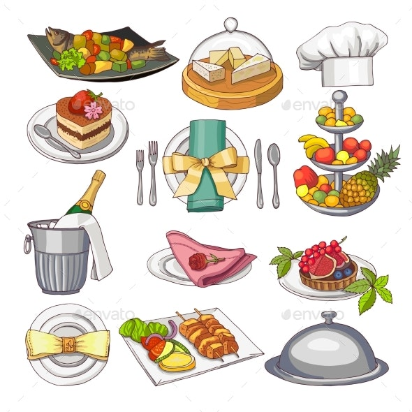 Colored Illustration of Restaurant Food Set - Food Objects