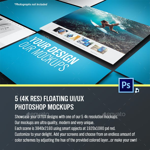 Floating UI/UX Photoshop Mockups (5 files - 4K Res)